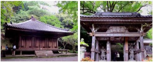 (左から)富貴寺大堂、富貴寺仁王門